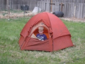 Boy and his tent